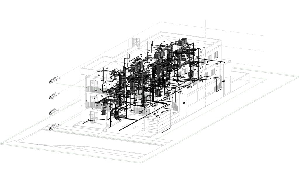 3D BIM model with plumbing and mechanical systems