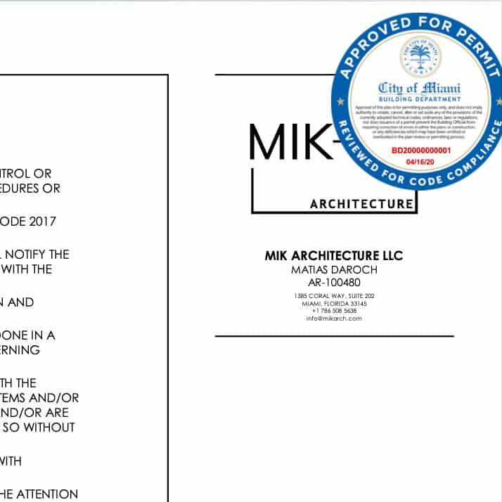 City of Miami Approved Building Permit